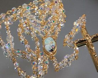 Catholic SMALL Bead  Baptism Rosary in AB Swarovski Crystal and Gold