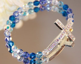 Swarovski Crystal and Rhinestone Sideways Cross Bracelet