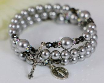 Catholic Wrap Rosary Bracelet with Silver Swarovski Pearls