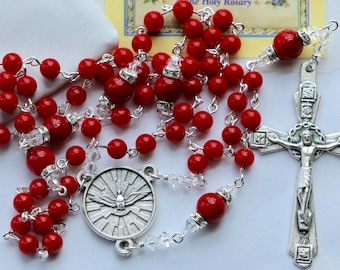 Catholic Confirmation Rosary in Red Coral