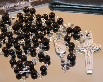 Catholic Black Onyx Pope Francis Rosary