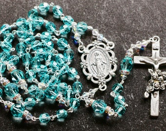 Catholic Swarovski Crystal Rosary in Turquoise