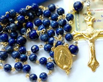 Catholic Lapis Lazuli Rosary in Gold