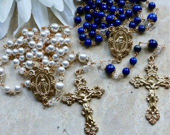 Catholic Wedding Rosary Set in Gold