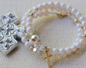 Wrap Rosary Bracelet in Pearlescent White Pearls, AB Crystal and Gold