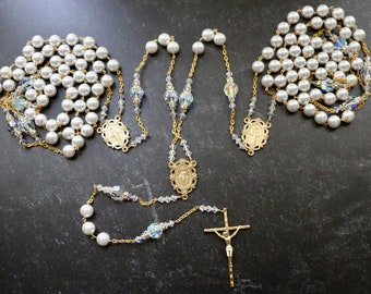 Swarovski AB Crystal White Pearl Wedding Lasso in Gold