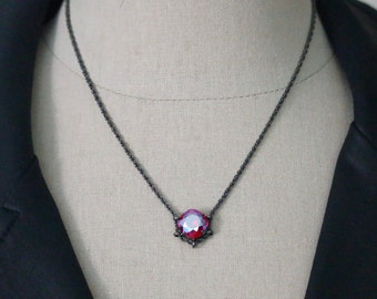 Swarovski 12mm Light Siam Shimmer Square Hematite Cradle Necklace