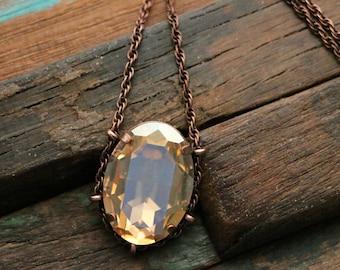 Swarovski Golden Shadow Crystal Cradle Pendant in Copper