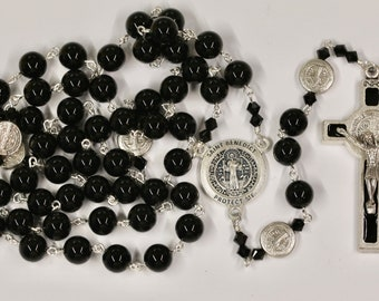 Catholic LARGE BEAD Grade AAA Black Onyx St Benedict Rosary in Silver