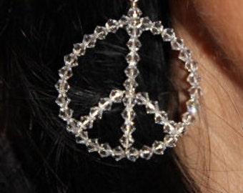 Swarovski Crystal Peace Sign Earrings