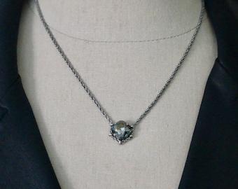 Swarovski 12mm Black Diamond Square Cradle Necklace in Antique Silver