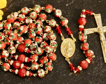 Catholic LARGE BEAD Red Cloisonné and Swarovski Crystal Rosary in Gold