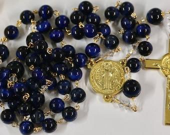 Catholic LARGE BEAD Grade AA Lapis Lazuli Blue Tiger Eye St Benedict Rosary in Gold