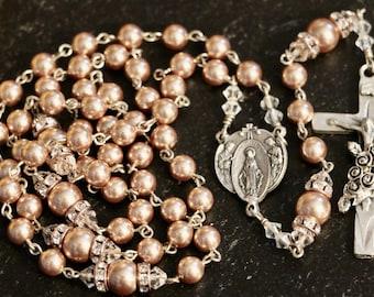 Catholic Swarovski Rose Gold Pearl Rosary in Silver