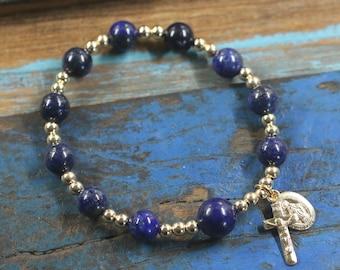 14K Gold Lapis Lazuli Stretch One Decade Bracelet