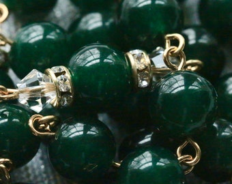 Catholic XL BEAD Dark Green Jade Grade AAA Natural Gemstone Rosary in Gold