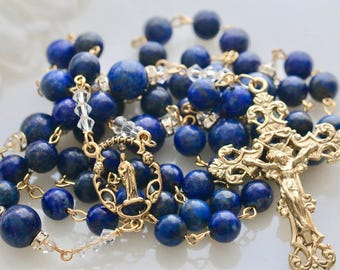 Catholic Large Bead Lapis Rosary in Gold