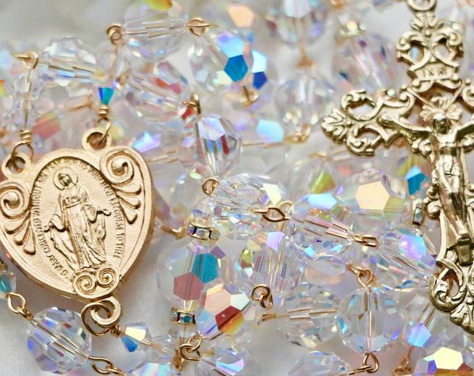 Featured listing image: Catholic XL BEAD Swarovski AB Crystal Rosary in Gold