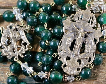 Catholic LARGE BEAD Grade AAA Dark Green Jade Natural Gemstone St Michael Rosary in Bronze