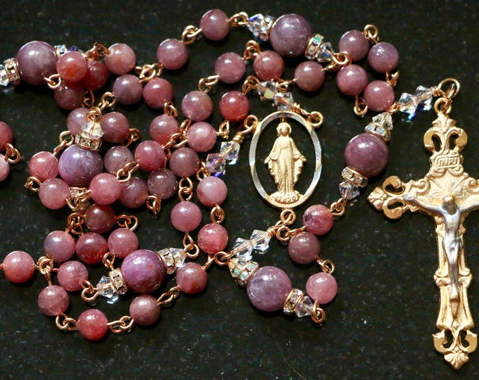 Featured listing image: Catholic Rosary in Ruby Grade AAA Genuine Natural Gemstone