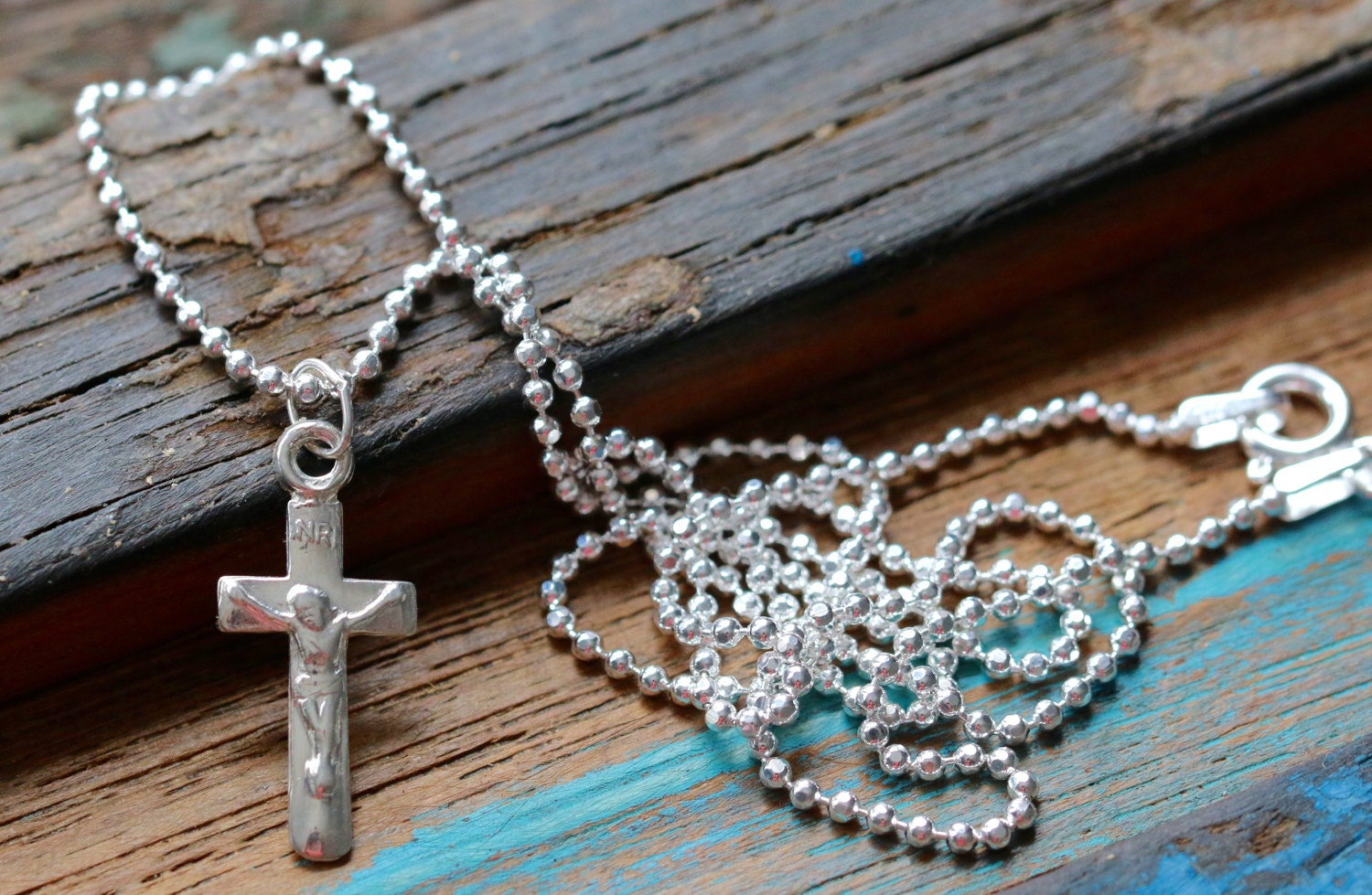 Italian Sterling Silver Crucifix Necklace, 30-24-18 1 5mm Ball Chain or