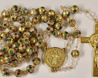 Catholic LARGE BEAD Gold Cloisonné and Swarovski Crystal St Benedict Rosary in Gold
