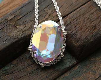 Swarovski AB Crystal Cradle Pendant in Sterling Silver