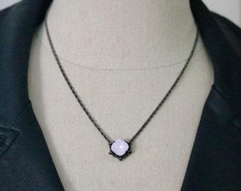 Swarovski 12mm Rose Water Opal Square Cradle Necklace in Hematite