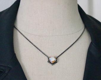Swarovski 12mm Light Topaz Shimmer Square Hematite Cradle Necklace