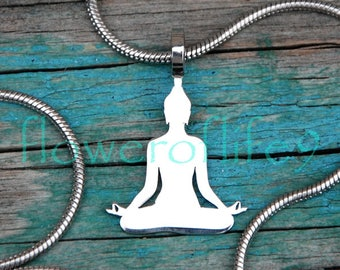 Buddha pendant  (19x17 mm) - Stainless Steel