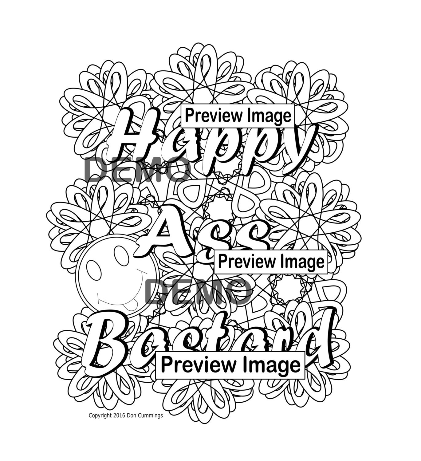 Happy Ass Bstard-Swear Word Coloring Page-Swear Word ...