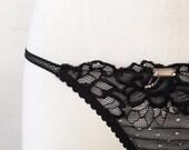 French lace panties mini panties / gift for her / sexy black panties / mesh panties / mini panties / gothic panties, bdsm panties