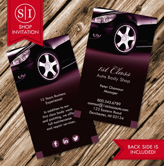 Auto body shop business card free shipping etsy image 0 reheart Image collections