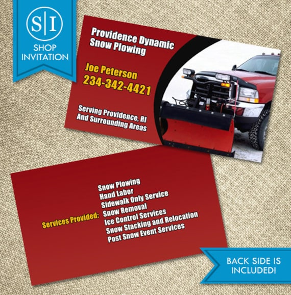 Snow Plowing Business Card Etsy