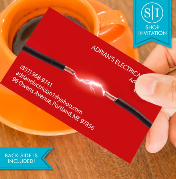 Electrician business card free shipping etsy reheart Gallery