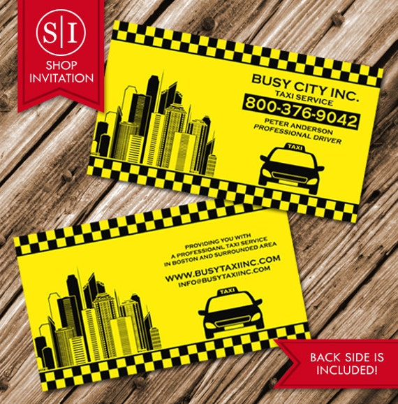 Taxi cab business card free shipping etsy image 0 colourmoves