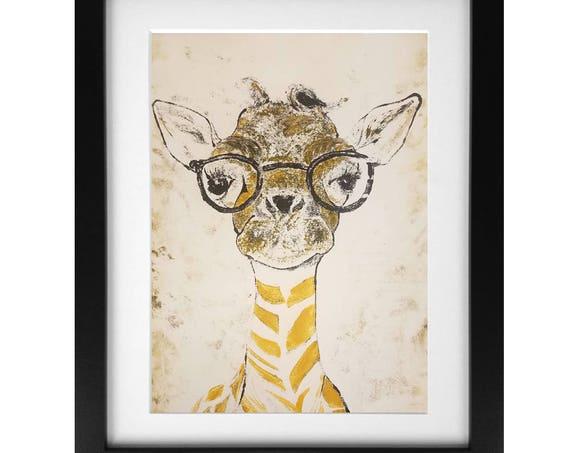 Giraffe Monotype Print