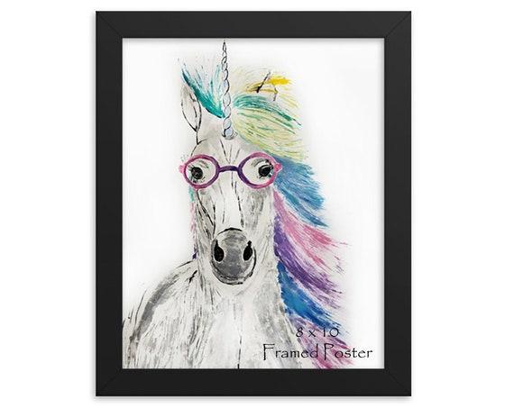 Rainbow Unicorn in Glasses Poster
