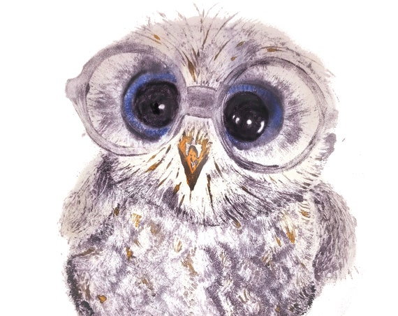 Baby Owl in Glasses - Canvas Reproduction - Original Image Mono-type