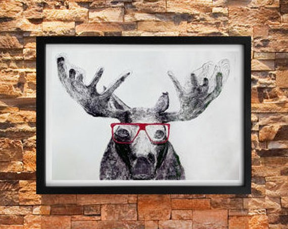 Moose In Glasses 38 x 26 - Original Hand Pulled Print - Mono-Type Print