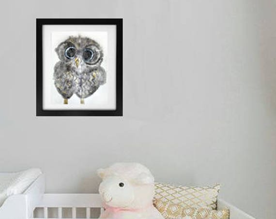 Owl in Glasses Ghost 2 Monotype Print Image 12 x 16 - Original