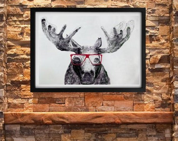 Moose in Glasses - Stretched Canvas Reproduction - Ready to Hang