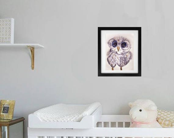 Owl in Glasses Ghost Monotype Print Image 12 x 16 - Original