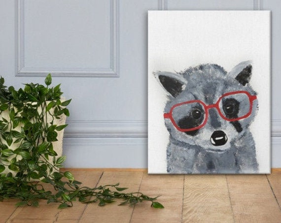 Baby Raccoon in Glasses - Reproduction - Stretched Canvas