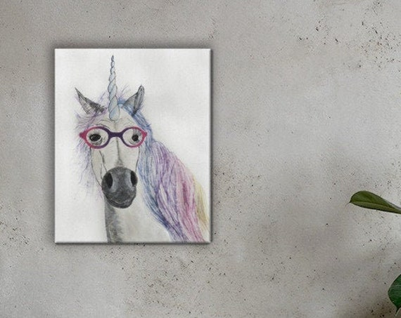 Unicorn In Glasses - Reproduction - Stretch Canvas