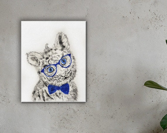 Baby White Tiger in Glasses - Reproduction - Stretched Canvas