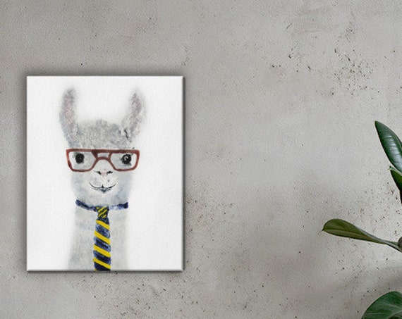 Hipster Llama in Glasses with Tie - Reproduction - Stretched Canvas.