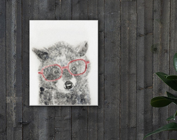 Baby Raccoon in Glasses Fuzzy Ghost Print - Reproduction - Stretched Canvas