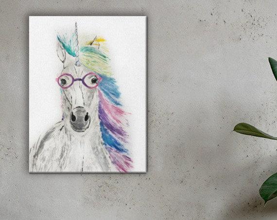 Unicorn in Glasses - Reproduction - Stretch Canvas