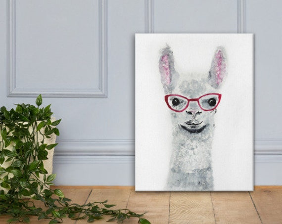 Girl Llama - Reproduction Stretched Canvas